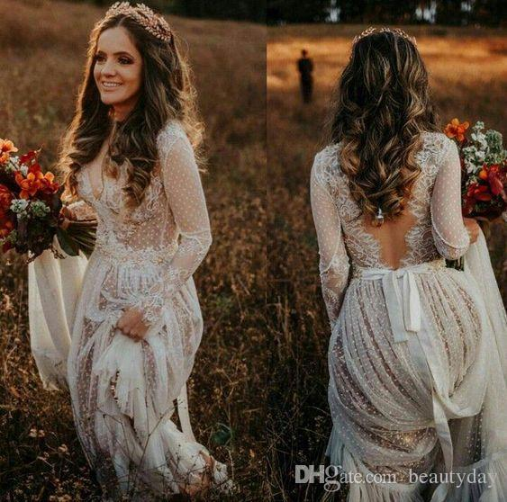 Bridal Dresses 2020 See Through A-line Backless Long Sleeve Bohemian Country Wedding Dresses Lace Tulle Beach robes de mariée