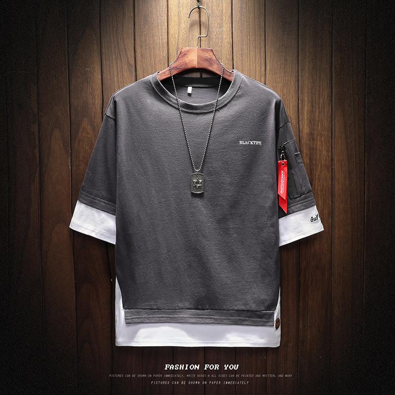 2019 uomini nuovi della maglietta mezzo del manicotto o-collo degli uomini hip hop maglietta stampato famoso marchio della maglietta degli uomini di marca hip hop maschile maglietta CX200615