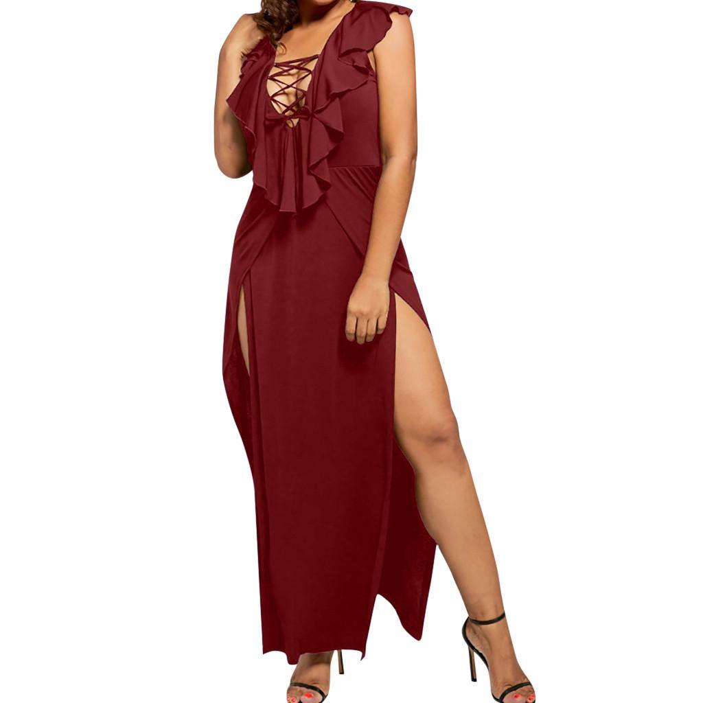 복장 여름 여성 롱 여성 플러스 사이즈 V 넥 민소매 섹시한 크로스 스트랩 드레스 프룻 스플릿 긴 로프 무사 베라 노 2019