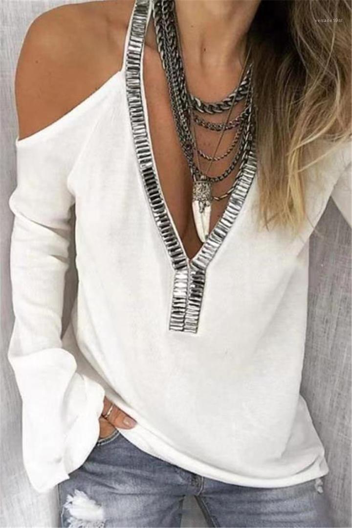 Camisetas Moda V cuello de las lentejuelas Mujer Tees Casual Camiseta de manga larga Tops 2020 diseñador de las mujeres