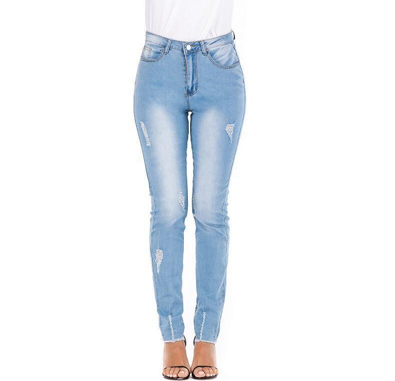 مصمم الأزياء النسائية تمتد ممزق مثير نحيل جينز عالية مخصر يتأهل الدنيم السراويل السائق قلم رصاص السراويل للسيدات 733