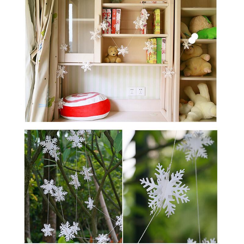 2018 Nouveau 12pcs / String Festival du Parti Home Decor Garland Carte 3D papier ornements flocon de neige de Noël blanc Pendentif de vacances