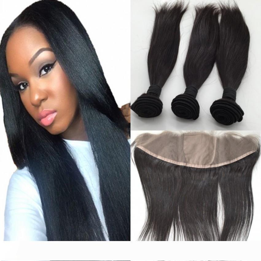 Unprocessed Indian Virgin Human Hair Straight With Silk Top Full Lace Frontals 3 Bundles With 13x4 Silk Based Lace Frontal Closure