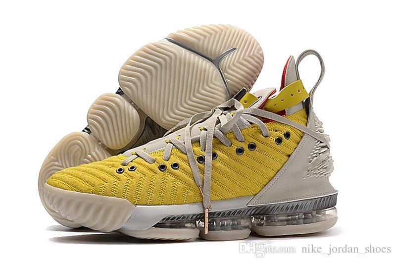 Lebron 16 HFR Parlak Citron Zirvesi Beyaz Erkek Basketbol Ayakkabıları James 16 s HFR aslan kafası ayrılabilir deri bilezik Tasarımcı Mens Trainer