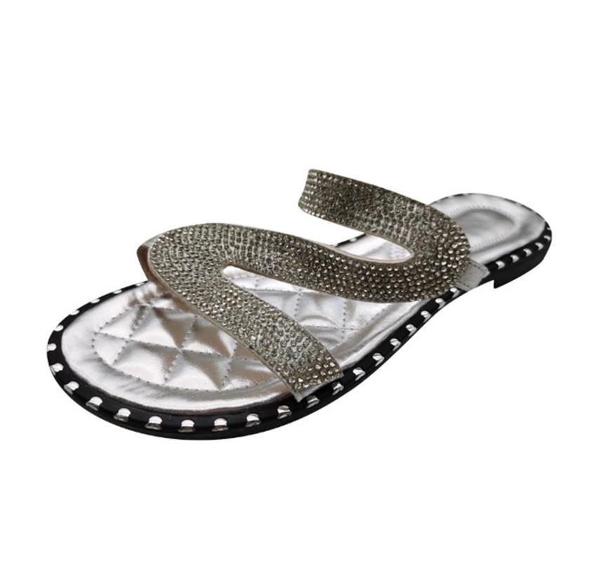 de las mujeres zapatos de las sandalias Casual Zapatillas Fuera Palo El Rhinestone de la hebilla plana de los deslizadores 3 colores PH-CFY20050914