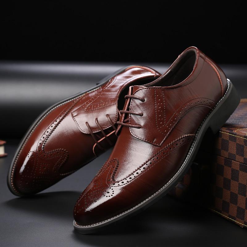 Дуэйн Мужчины кожаные ботинки Oxford Кожа Мужские туфли деловых FLAT дышащий Мужская Банкет Свадебные 2019
