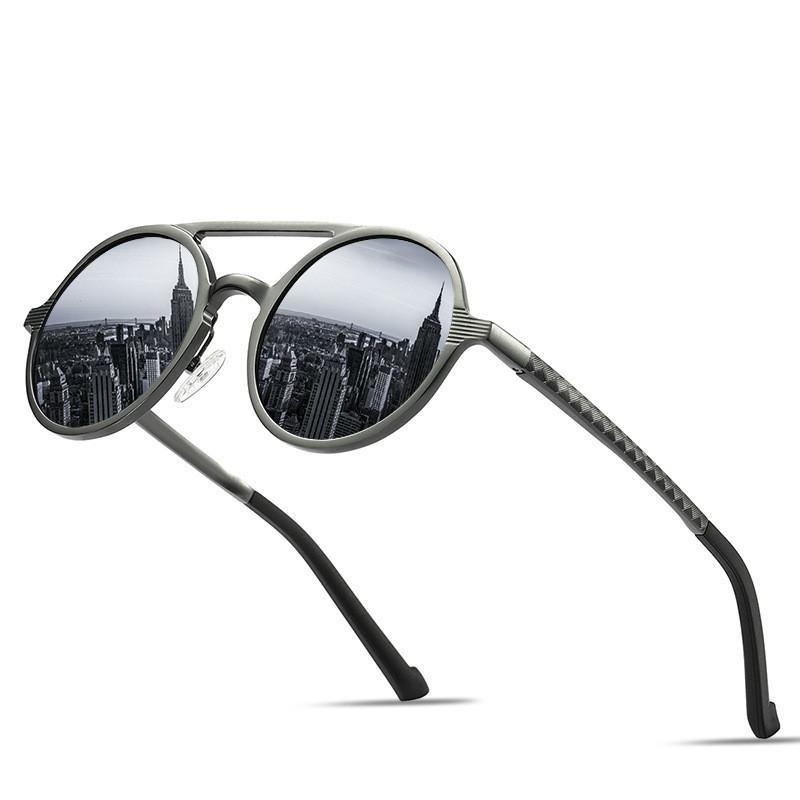 Quadro Marca Design Óculos de sol Men polarizada Rodada Vintage Sun Óculos de alumínio em liga de magnésio Motorista Óculos Driving Espelhos CY200520