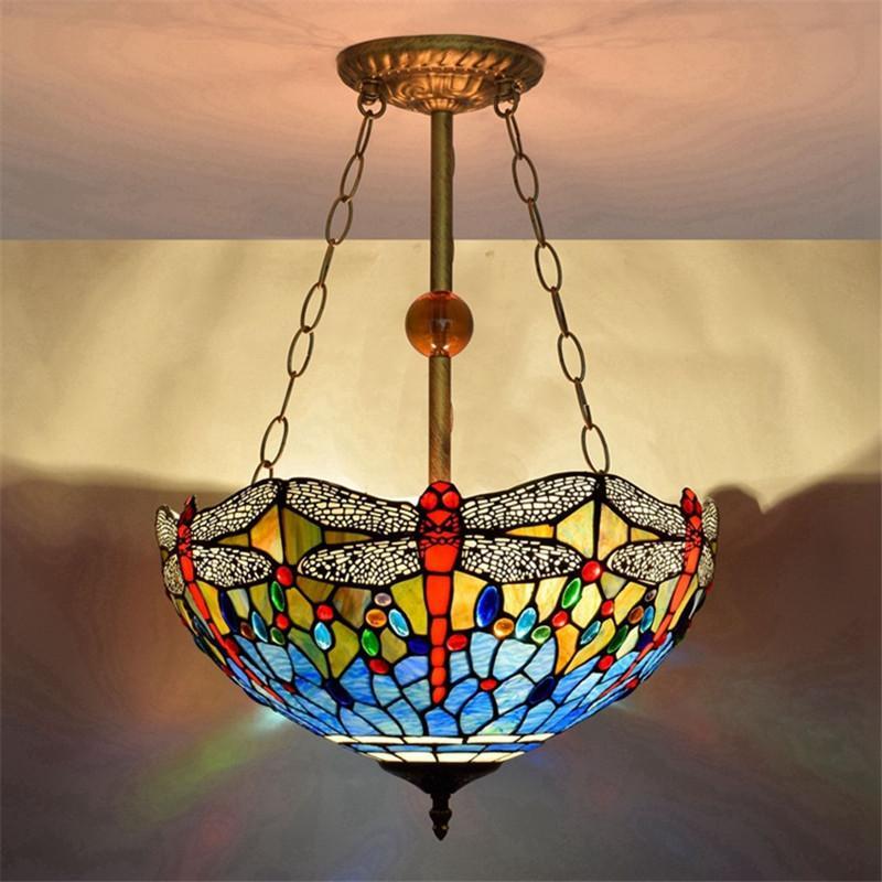 미국 블루 잠자리 유리 샹들리에 조명 거실 식당 침실 매달려 램프 티파니 유리 펜던트 lampsTF005 스테인드
