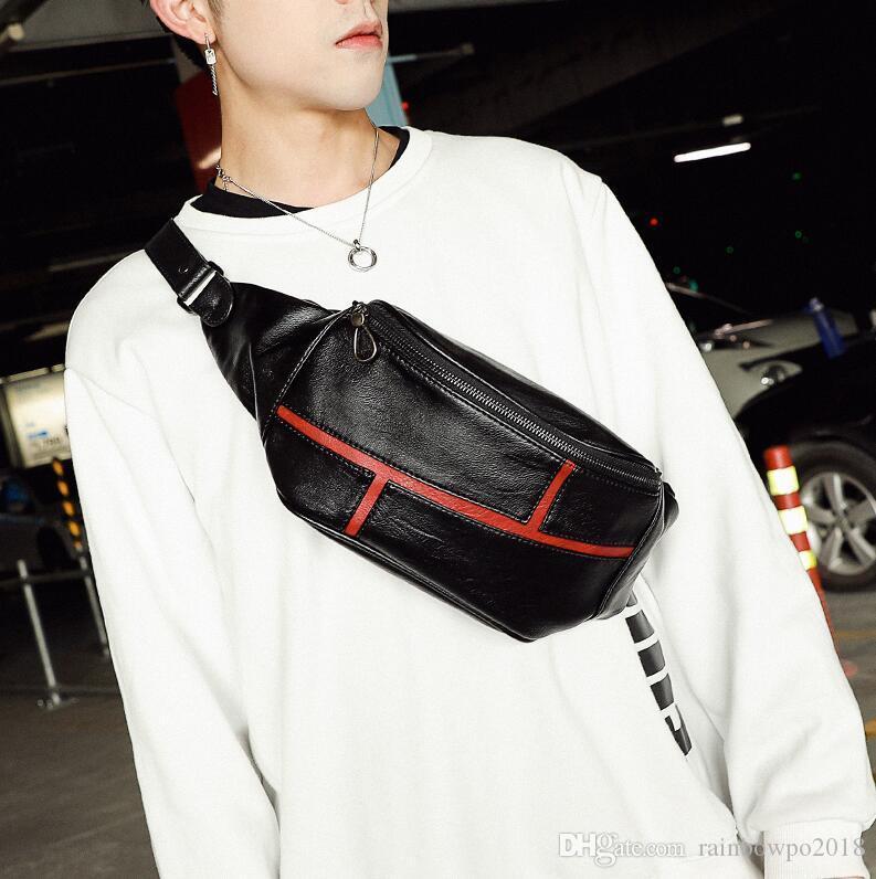 Factory wholesale men handbag Street trend Leather Men shoulder bag versatile sports leisure men waist bag multi-functional leather fashion