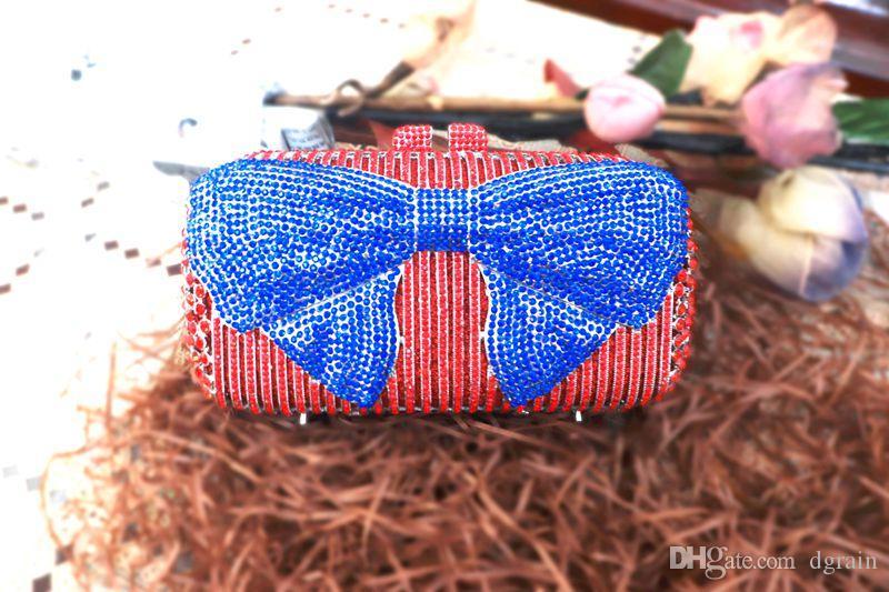 Dgrain Hot Red und Blue Crystal-Kupplungs-Abend-Beutel-Frauen-Diamant-Bogen Metallkasten Handtasche Hochzeit Kupplungen Brautgeld Minauriere Box