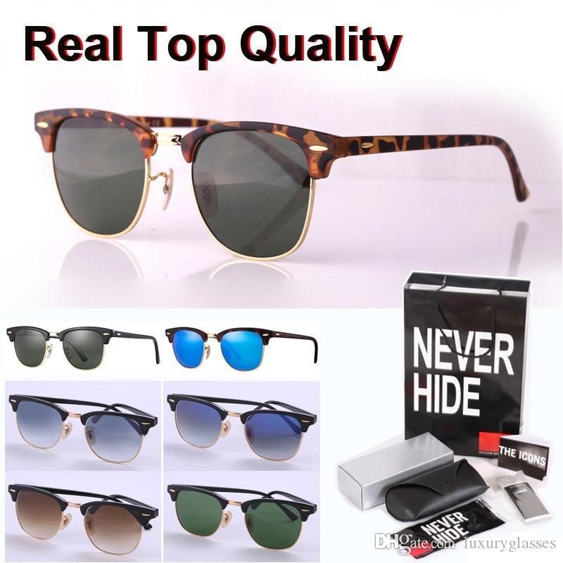 Primera marca de calidad superior del ojo de gato gafas de sol de los hombres de las mujeres de lentes de marco de cristal semi-sin montura con la caja original, paquetes, accesorios, todo!