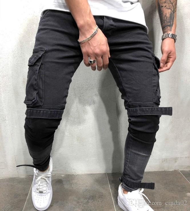 Skinny Jeans Biker hommes pantalons multi-poches Bandage Slim Cargo Joggers pour motocyclette Hip hop Pantalons Streetwear Swag Denim