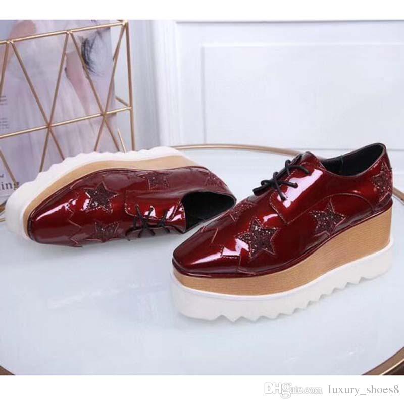 Neue Ankunfts-italienische Stella McCartney Schuhe Frauen-verursachende Frauen Schuhe Sterne Wedges Sohle Plattform echtes Leder P1