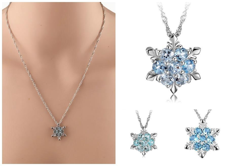 2019 joyería collar colgante de copo de nieve Droppshiping manera de las mujeres de cristal de circón de Navidad Año Nuevo regalos BFJ55