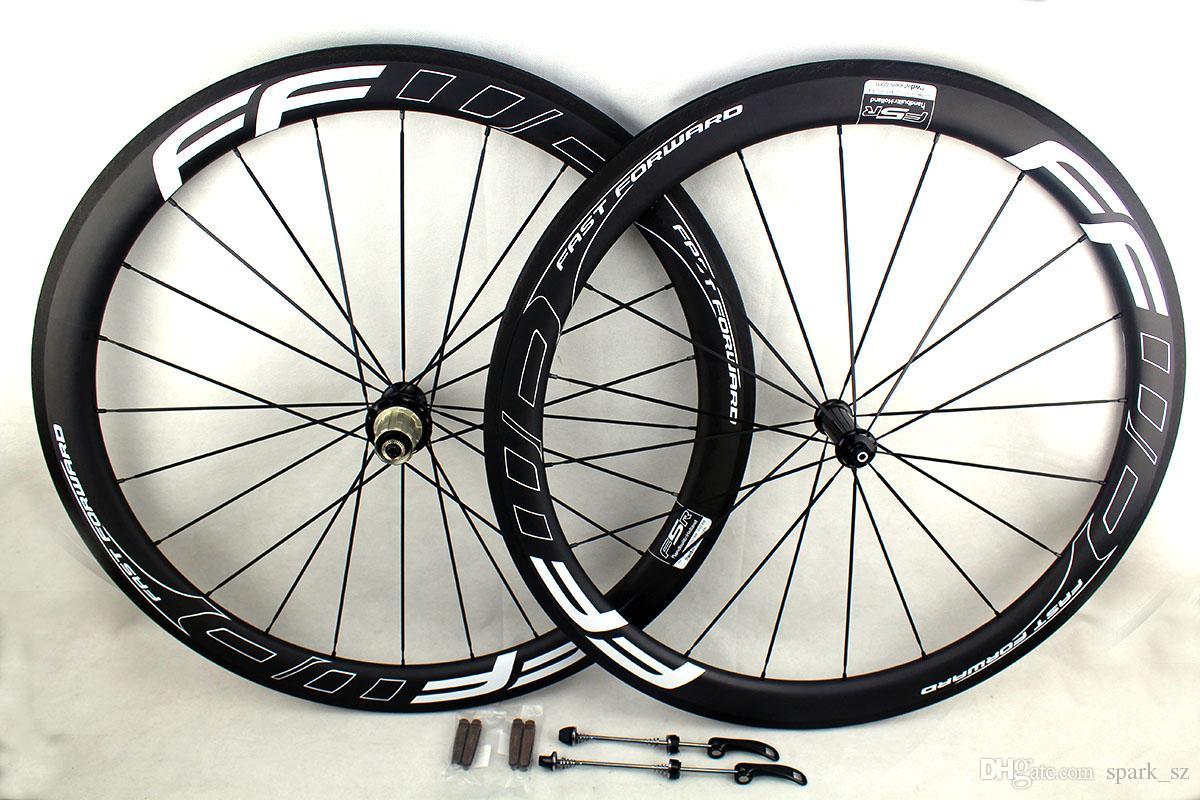 Carbon road bicycle wheels 50mm FFWD white line decals clincher tubular cycling bike wheelset basalt brake surface UD matt Powerway R36 hubs
