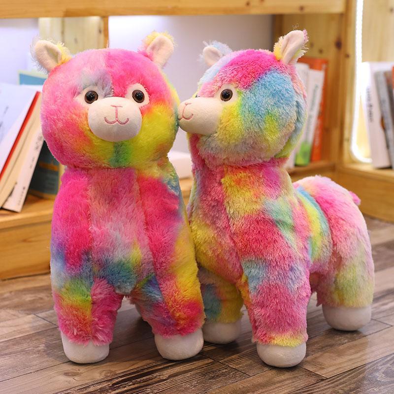 45cm Colorful Rainbow Alpaca Plush Toys Stuffed Animals Cute Plush Alpacasso Sheep Llama Toys for Kids Girls Birthday Gifts