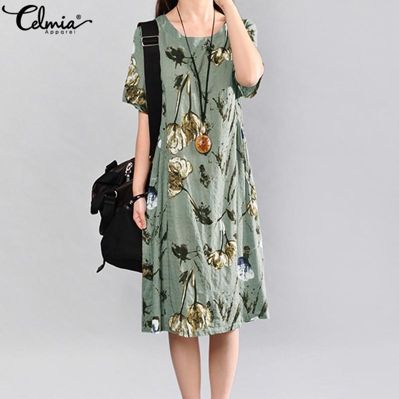 Celmia 2019 del verano del vestido de la vendimia de manga corta floja elegante de las mujeres de la impresión floral Midi vestidos casuales Beach Party Vestido de tirantes Vestidos