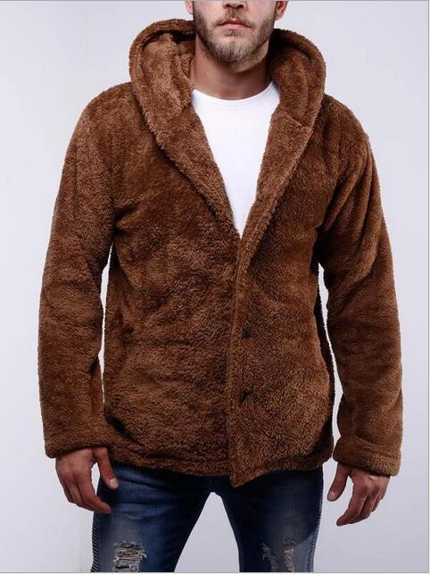 Automne et à manches longues femmes mode d'hiver nouvelles polaire double face des hommes de couleur unie occasionnels manteau chaud de chandail à capuchon
