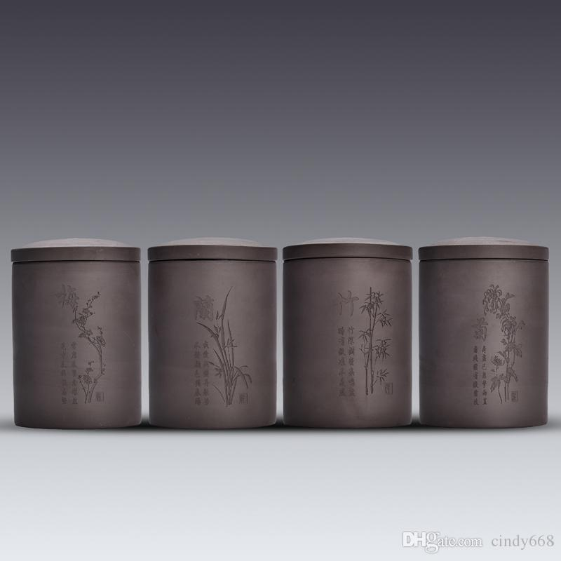 Purple Clay Tea Jar Sealed Porcelain Sugar Storage Cans Chinese Style Mini Ceramic Tea Box Tank Dried Fruits Canister Snoeppot Tea Canister