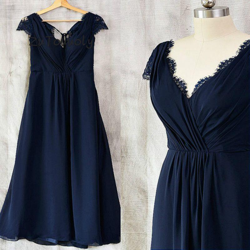 Azul Marinho V Neck Vestidos de Dama de Honra Plus Size A Linha Até O Chão Chiffon Praia Convidado Do Casamento Vestido Para As Mulheres 2019 Dama de Honra