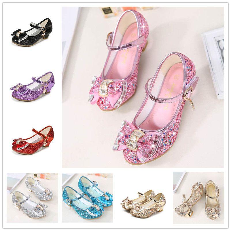 Kızlar sequins yüksek topuklu 3 cm prenses kristal ayakkabı 7 renkler 3-12 T Çocuklar için yıldız ay dekorasyon Büyük yay dans ayakk ...