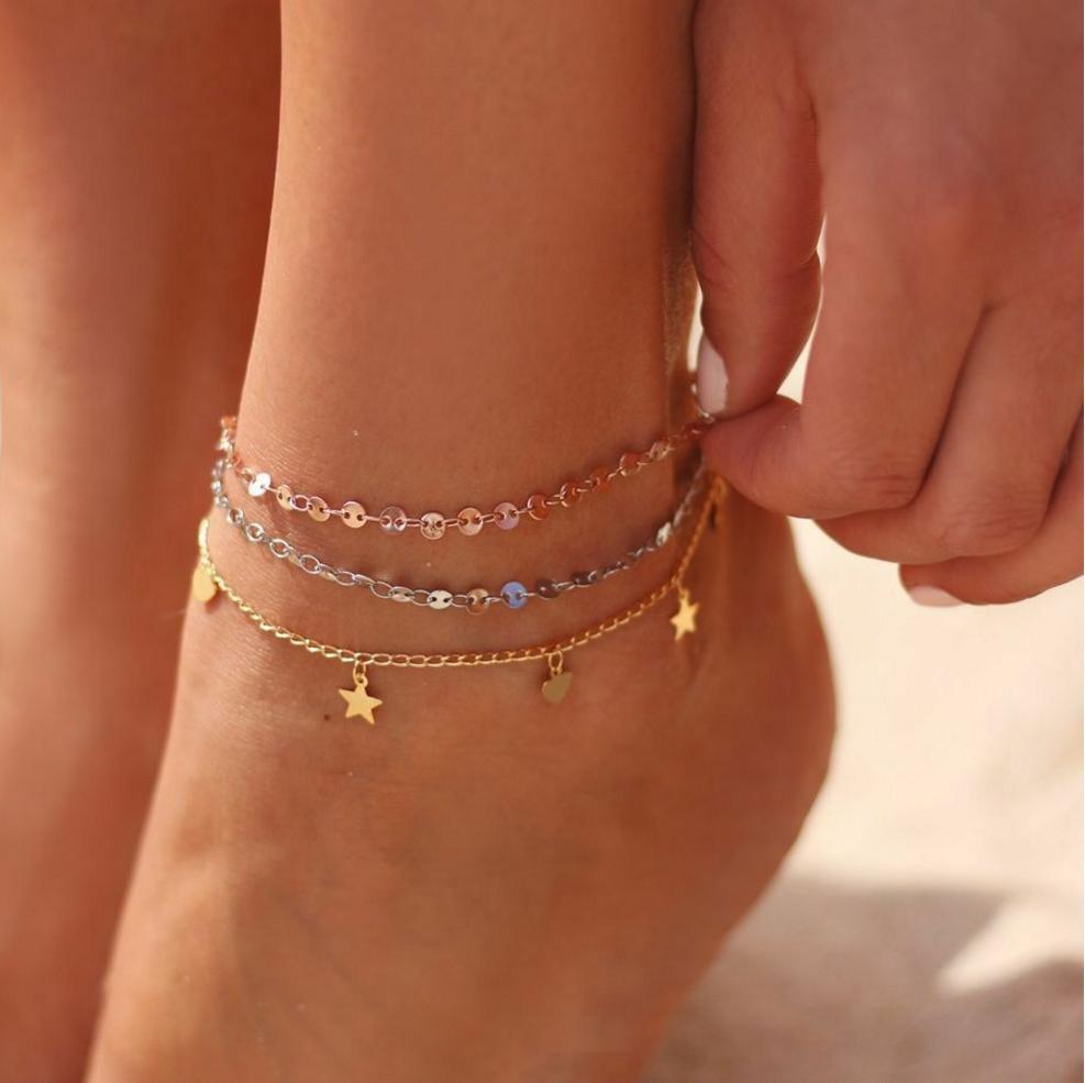 Ensembles Anklet 3pcs / set disque or argent pendentif coeur étoile à cinq branches chaîne pièce en plaqué pour les femmes filles cadeau pied