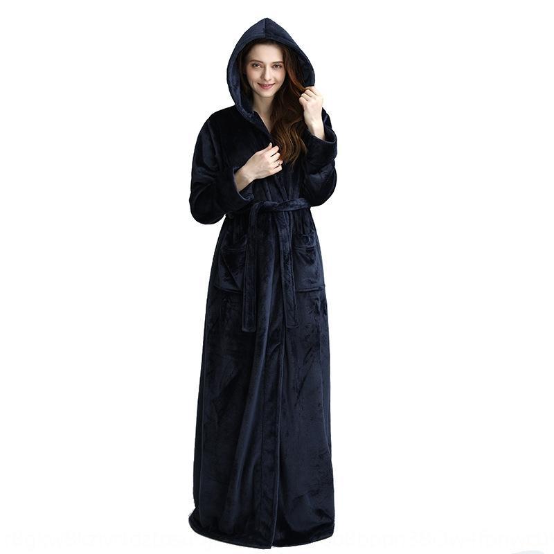 Saison épaisse robe de flanelle à capuchon de couple peignoir à capuche et d'hiver des femmes bain prolongé hommes molletonnée