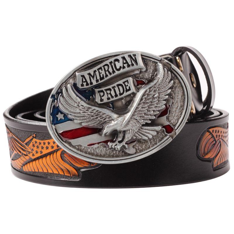 The amercan prode belt buckle leather repujado grande y liso buckle Cinturón de cuero estampado en relieve