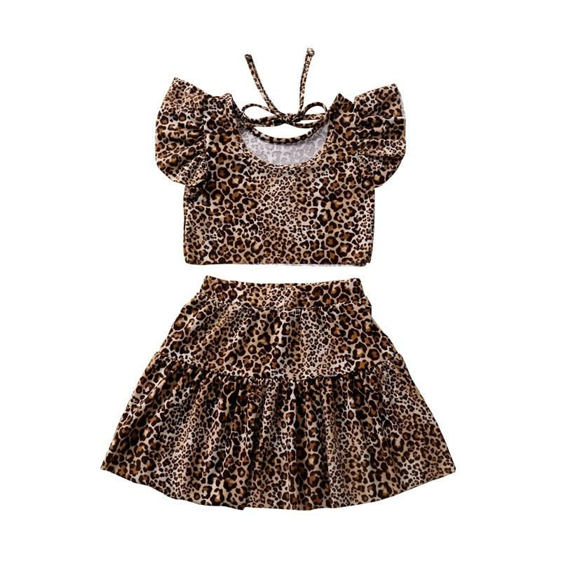 Sommer-Mädchen-Kleidung Mode-Leopard-Druck Kurzarmshirts T Shirts Tees Rock Zweiteiler Outfits INS Mädchen Kinderkleidung CZ403