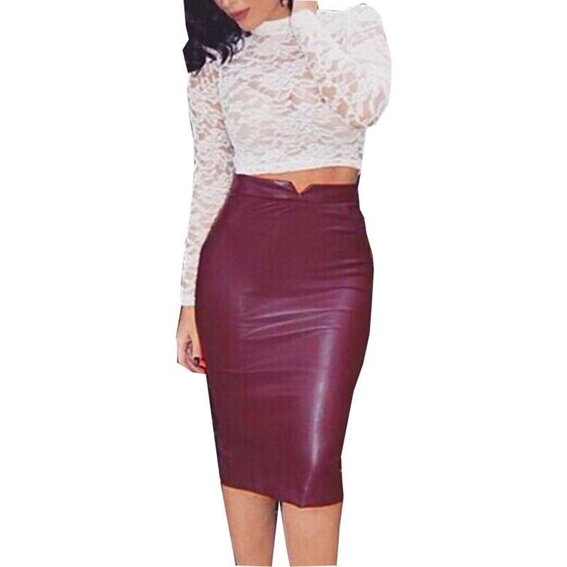 2020 Femmes Printemps Faux Faux cuir Jupe taille haute Ensemble hanche longueur au genou jupe Bureau de Split Mesdames Slim Plus Size