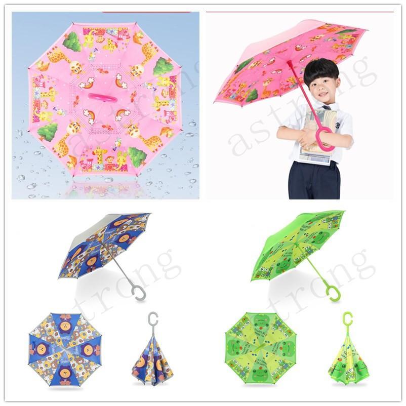 New Children Cartoon Reverse Umbrellas Creative Double Layer C Handle Windbreak Umbrellas Outdoor Kids Colorful Animal Umbrella Gifts A327