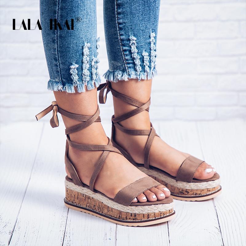 Lala Ikai Ladies Flat Sandals Espadrilles Flock Ankle Strap Solid Fashion Open Toe Sandals Platform Woman Shoes 014c2087 4 Sandals High Heels From Heymonster 41 6 Dhgate Com