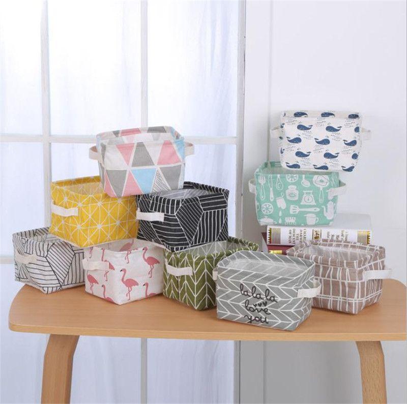 Desktop storage basket cute printing waterproof organizer ins cotton linen sundries storage bag foldable cabinet underwear storage box