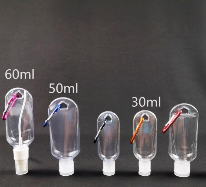 50ml Plastic Empty Hand Wash Sanitizer Spray Bottles Carabiner Lotion keychain