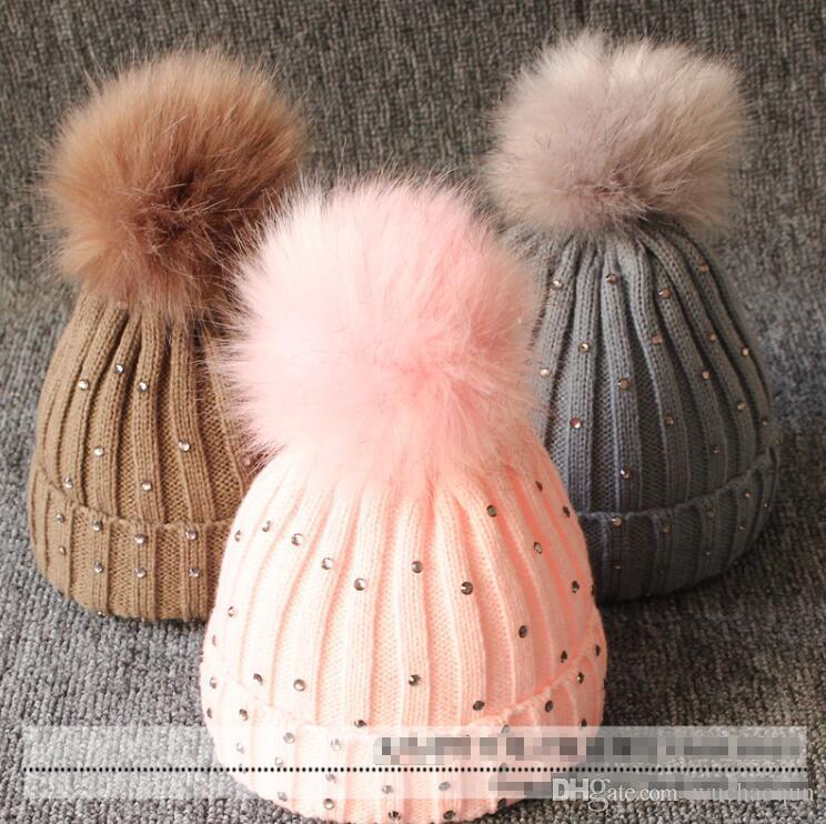 DHL Baby Knitted Diamonds Hats Fur Pom Pom Beanie Shinning Bling Bling Bobble Crochet Caps Winter Infant Kids Designer Accessories BY0659