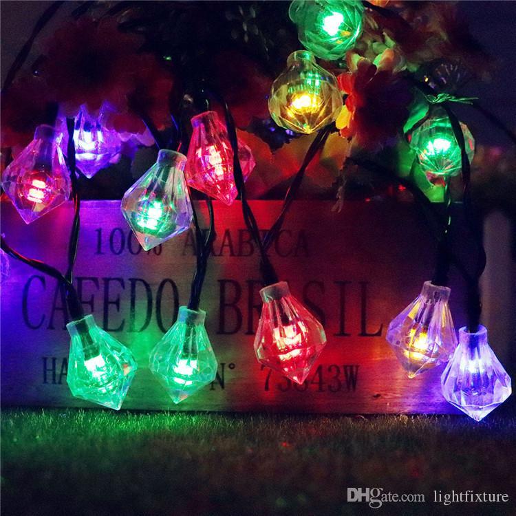 Güneş Elmas Dizeleri Işık LED Peri Işık Açık Çit Aydınlatma Bahçe Noel Noel Düğün Parti Dekor Dize