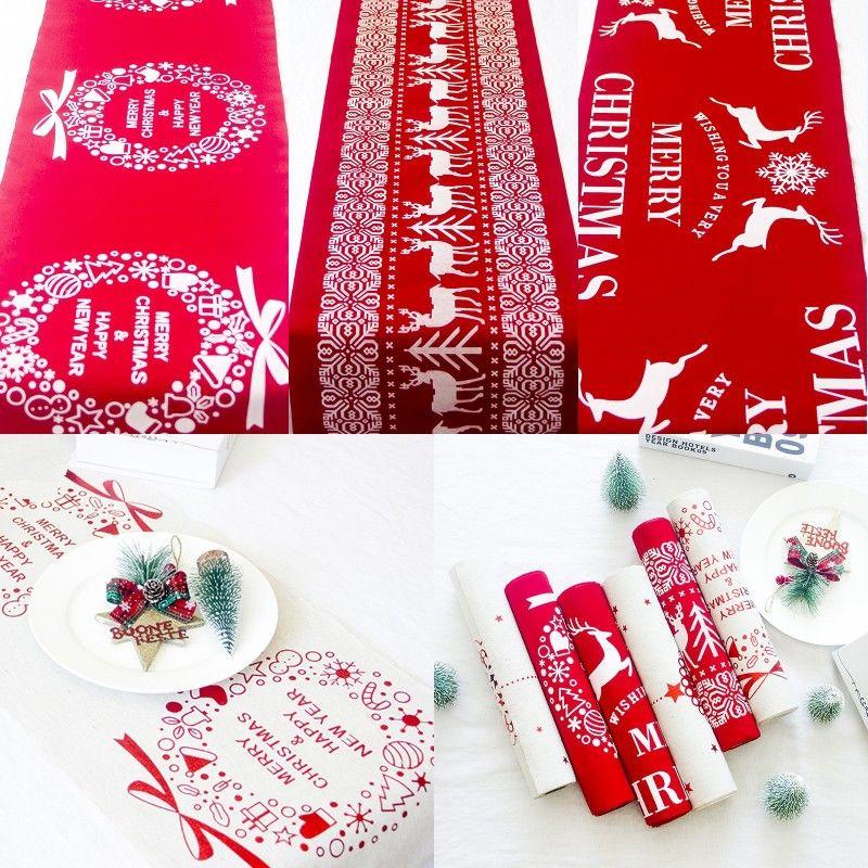 عيد الميلاد الكرتون القطن مفرش المائدة ندفة الثلج الأيل مطبوعة مفرش المائدة الأبيض الأحمر الجدول عداء عيد الميلاد المنزلية الديكور سطح المكتب
