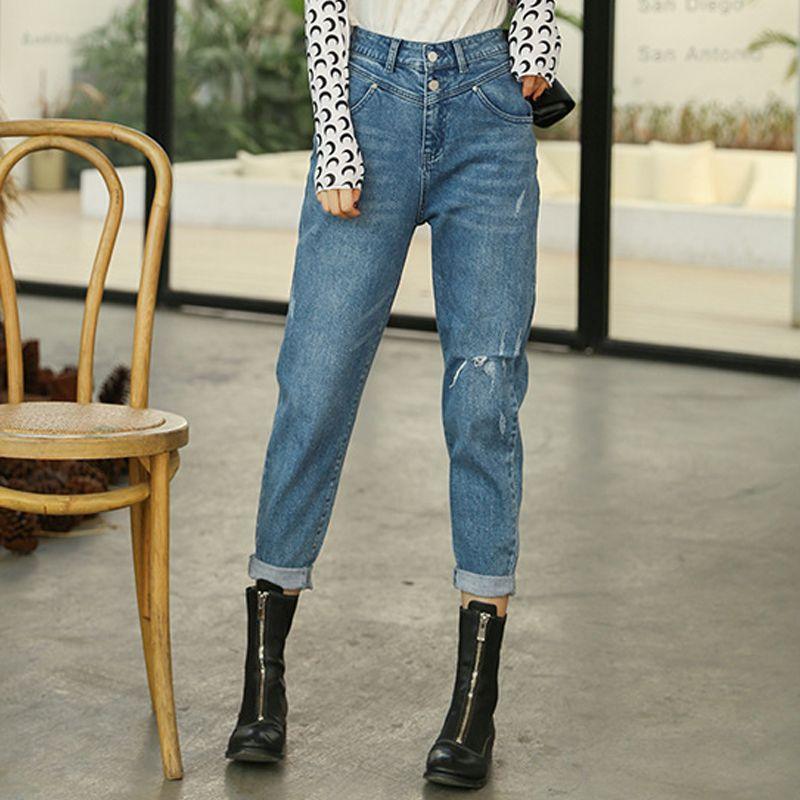 Kadın Casual Pantolon Kovboy Torn Düz Kot Pantolon Kadın erkek arkadaş Streetwear Jeans Delik Yüksek Bel Boş Vintage Ripped