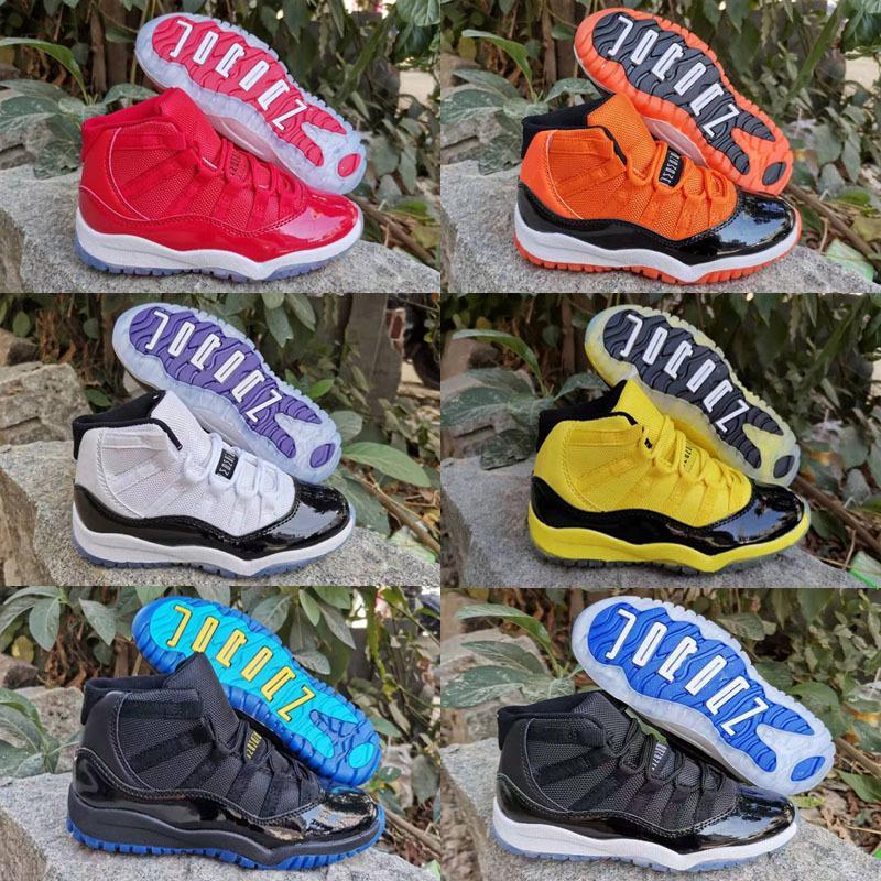 2020 New Kids Jumpman 11 11s Space Jam Bred Concord Gym Rouge Retro Chaussures de basket-enfants de filles de garçon blanc rose de minuit marine Sneakers