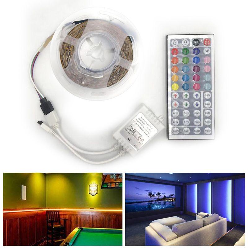 RGB LED 스트립 방수 2835 5 메터 DC12V 피타 LED 빛 스트립 네온 LED 12 볼트 유연한 테이프 Ledstrip 컨트롤러 및 어댑터
