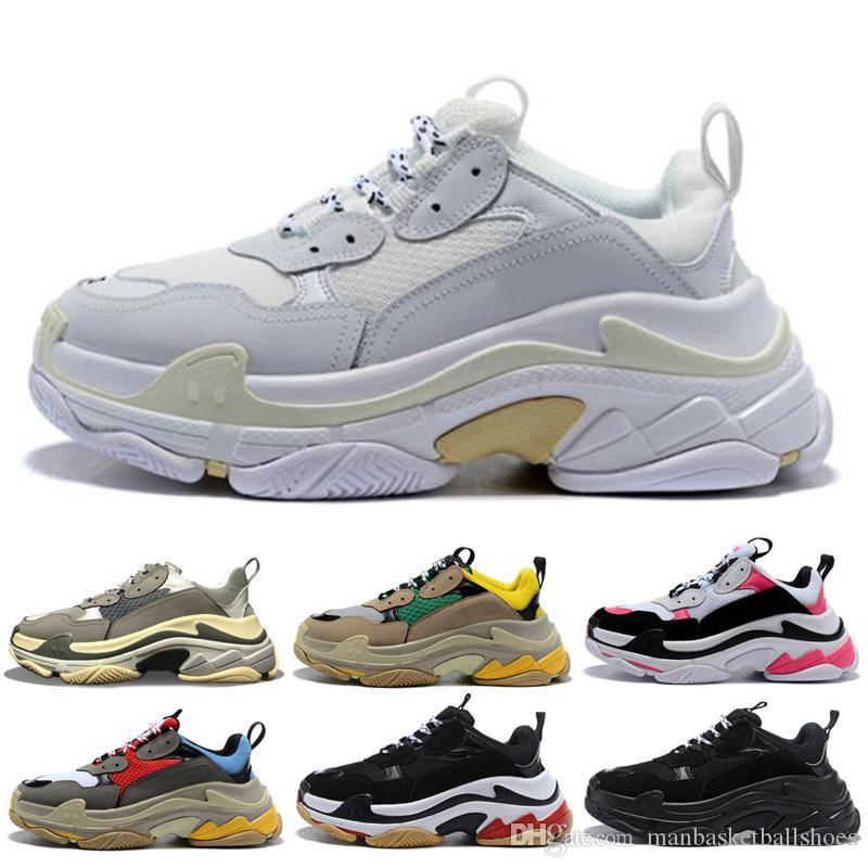 بيع ثلاثية سلال الرجال النساء أسود أبيض أحذية رجالي المدربين الثلاثي s أحذية عارضة أبي الأحذية 3645