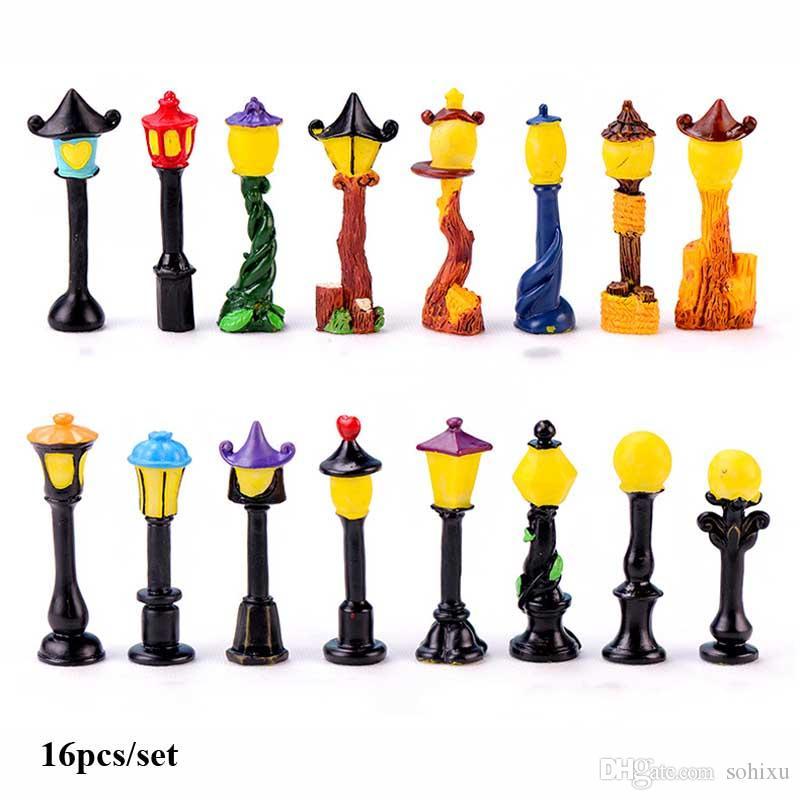 16 pcs Vintage Réverbère Résine Artisanat Terrarium Figurines Résine Fée Jardin Miniatures bonsaï Outils jardin gnome Micro Paysage