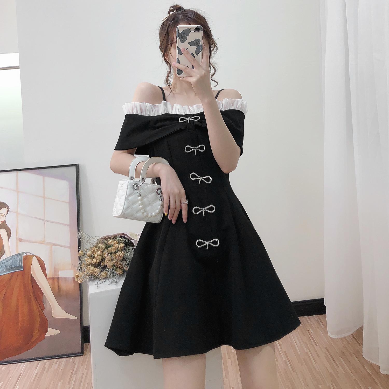Abito Chic off-spalla dell'arco del diamante coreano di stile elegante cinturino nero bianco una linea di mini vestito solido