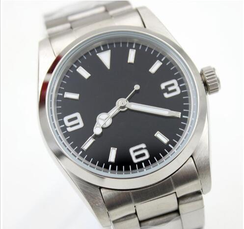 Лучшие продажи роскошные автоматические движения механические часы из нержавеющей стали черный циферблат Мужские спортивные наручные часы сапфировое стекло