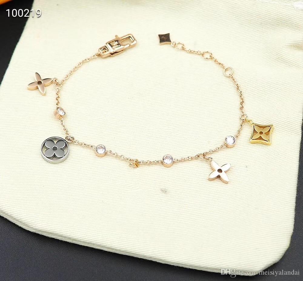 2019 mujeres de la joyería de lujo de diseño pulseras de plata pulsera de flores de acero inoxidable aumentó brazaletes de la manera brazalete de oro envío libre del regalo