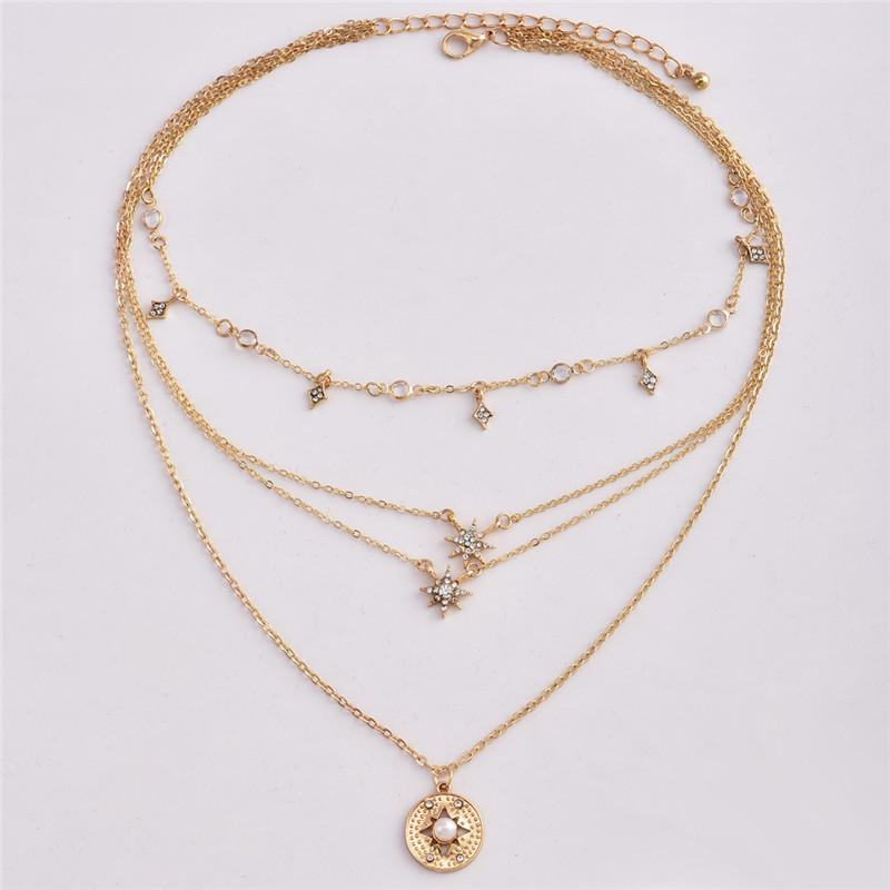 designer necklace Crystal Star Multilayer Choker Necklace Gold Chain Wrap Pendant Summer Beach Fashion Necklace
