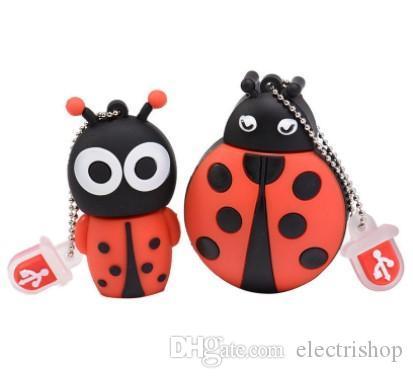 Retail wholesale Hot flash usb drive disk cute Beetle memory stick Pen drives personalized mini pendrive 4gb~64gb Ladybug cle usb 2.0