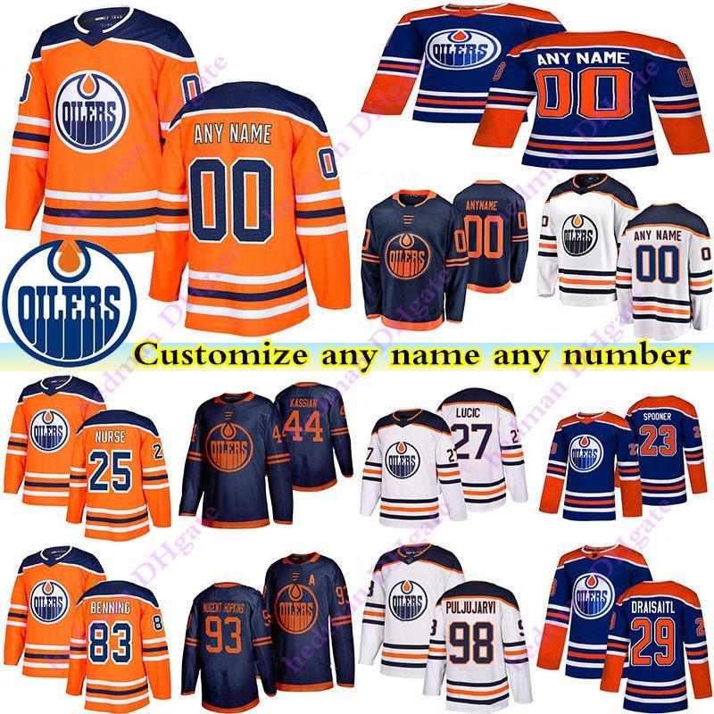 Edmonton Oilers Jerseys 97 Connor McDavid 74 Ethan Bear 25 Nurse 44 Kassian 83 Benning Personalizza qualsiasi numero Qualunque Nome Hockey Jersey