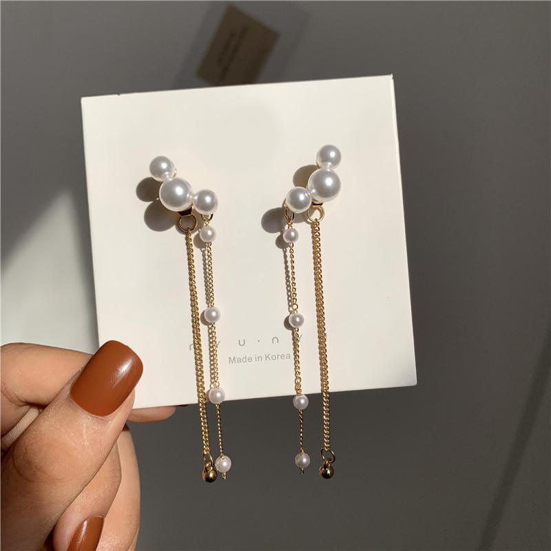 S925 Long Tassel Earings for Women INS Fashion Wedding Stud for Bride Personality Pearl Alloy Earrings Fashion Jewelry