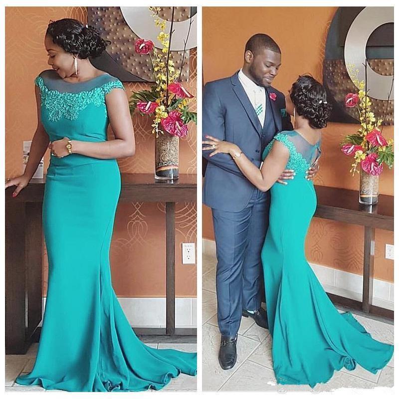 Turquoise sirène mère de la mariée robes robes pure cou cap manches robes de soirée appliques femmes parti robes de mère de mère sur mesure plus la taille